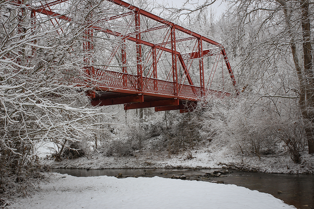 Bridge over Clear Creek on trail in Bloomington, Indiana