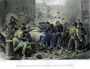 Massachusetts Militia Passing Through Baltimore (Baltimore Riot of 1861) engraving of F.F. Walker (1861)